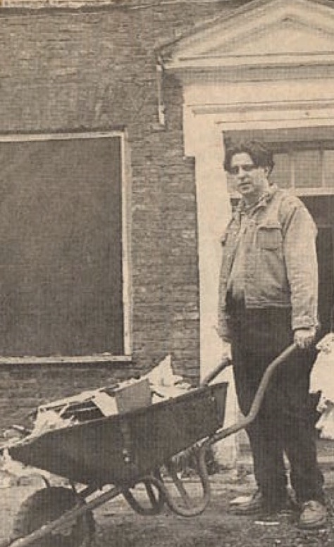 An Artful Gardener with wheel barrow and refuse - about to start Astley Old Vicarage renovation